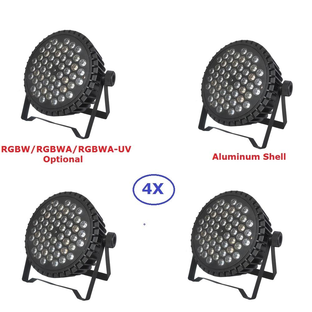 4Pcs/Lot Aluminum Alloy Par 54X3W RGBW/RGBWA/RGBWA-UV LED Flat Par Lights DMX 8/9 CH Dj Disco Lighting Shows Equipments цены