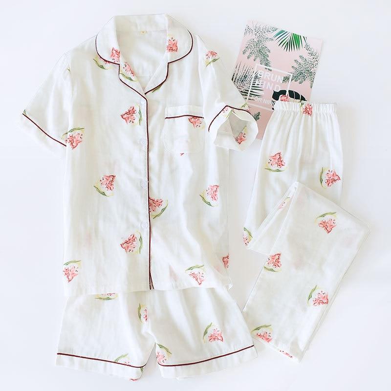 Image 5 - 3pcs suits Fresh short sleeve pyjamas women Summer 100% gauze cotton sleepwear women Korea pajamas shorts home pants New Sale-in Pajama Sets from Underwear & Sleepwears