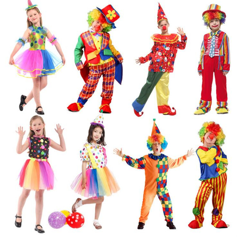 2018 Colorful Clown Cosplay Costume Funny Magician Stage Performance Costumes For Children Boys Girls Party Supplies Purim