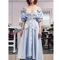 American 2017 Autumn Women S Fashion Asymmetric Off Shoulder Long Sleeve Button Blue Dress Female Sexy