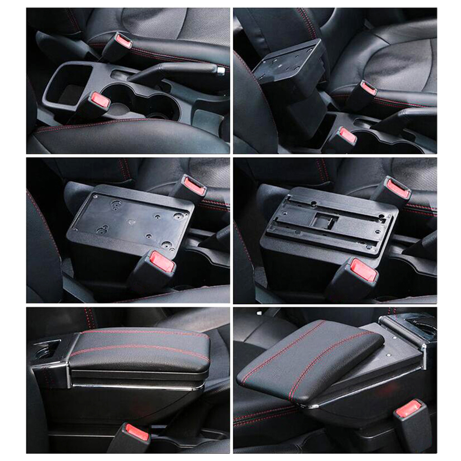 VPABES Car Armrest Rotatable Black Leather Center Console Storage Box Fit for Nissan Versa Tiida Latio 2007-2011