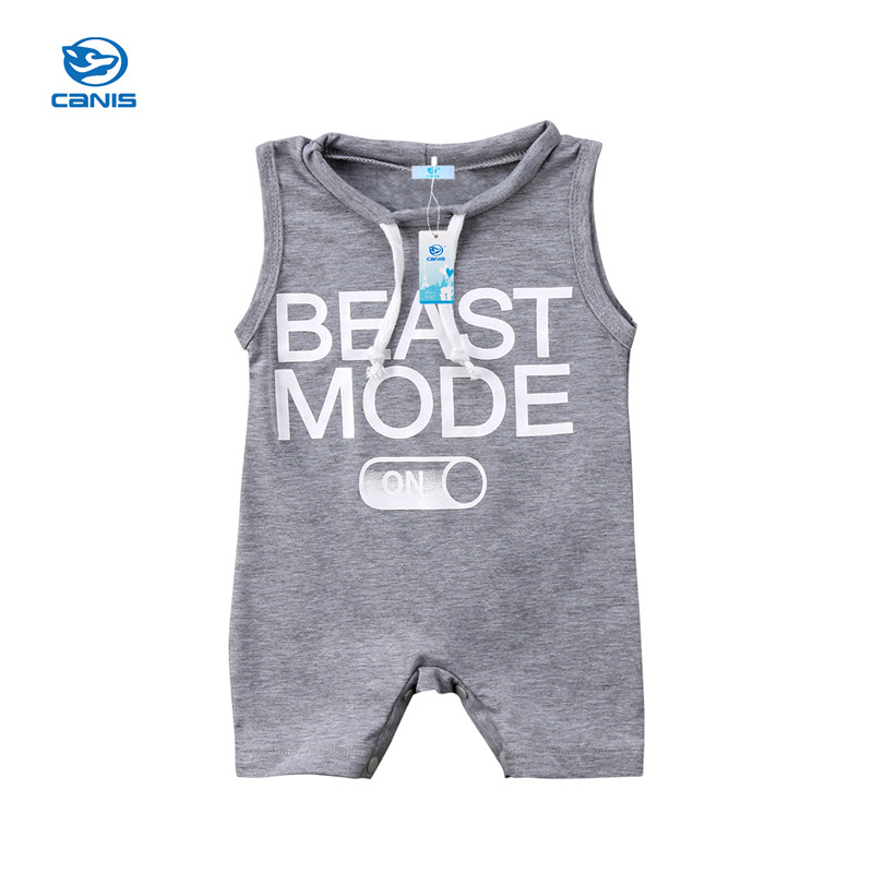 New Fashion Baby Boy   Romper   Newborn Toddler Boys Girls Sleeveless   Rompers   Jumpsuit Gray Letter Summer Baby Clothes