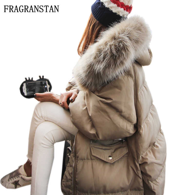 Winter Women Large Real Raccoon Fur Collar Down Jacket High Quality Thick Warm Parkas Female New Plus Size Hooded Long Coat LY42