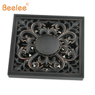 Beelee Bathroom Accessory 4 Inches Square Solid Brass Shower Ground Drainer, Oil Rubbed Bronze Floor
