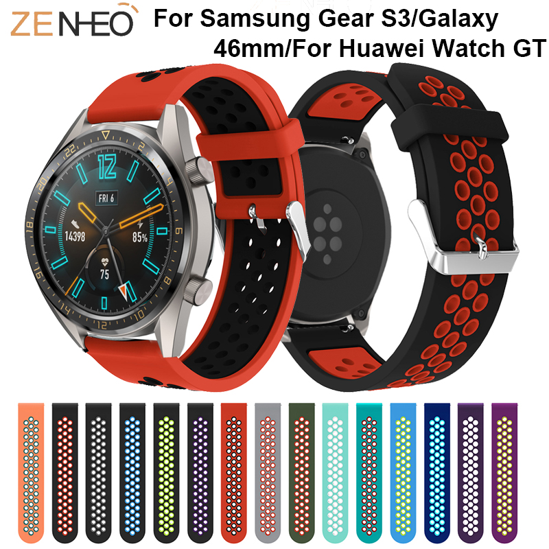 22mm Silicone Wrist Band For Huawei Watch GT Strap Replace For Samsung Gear S3 Frontier Classic Watches Band Breathable Bracelet