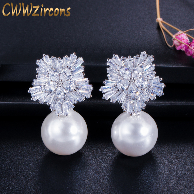 CWWZircons 2019 New Arrival Snow Flower Design Women Big Drop White Pearl Earrings with Cubic Zirconia Christmas Gift  CZ069