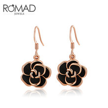 ROXI ROMAD Brand White/ Rose Gold Color Drop Earrings For Women Black Oil Flower Dangle Earrings Wedding Bridal Jewelry Gift(China)