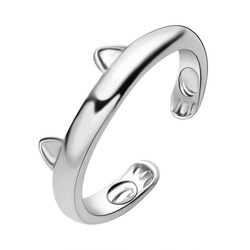 Fashion Cute Cat Ear Ring Design Cute Fashion Jewelry Cat Ring For Women and Girl Gifts Adjustable Cuff Rings