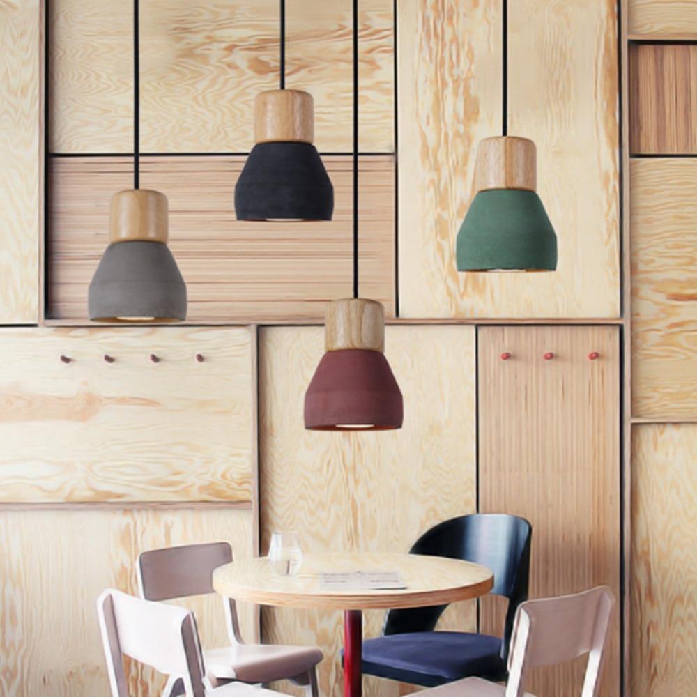 AC 100-240V Modern Wood Wooden Concrete Handmade Cement Fixture Lamp Light Pendant Lighting Lamp Cafe Bar Club Decoration