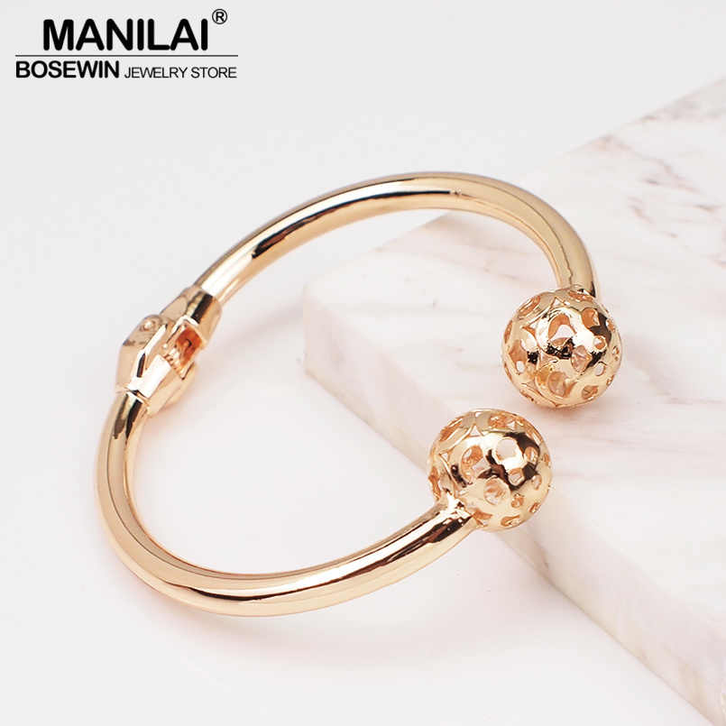 MANILAI Alloy Bangles Bracelets Women Gold Color Metal Charm Geometry Statement Cuff Bangles Fashion Jewelry 2019