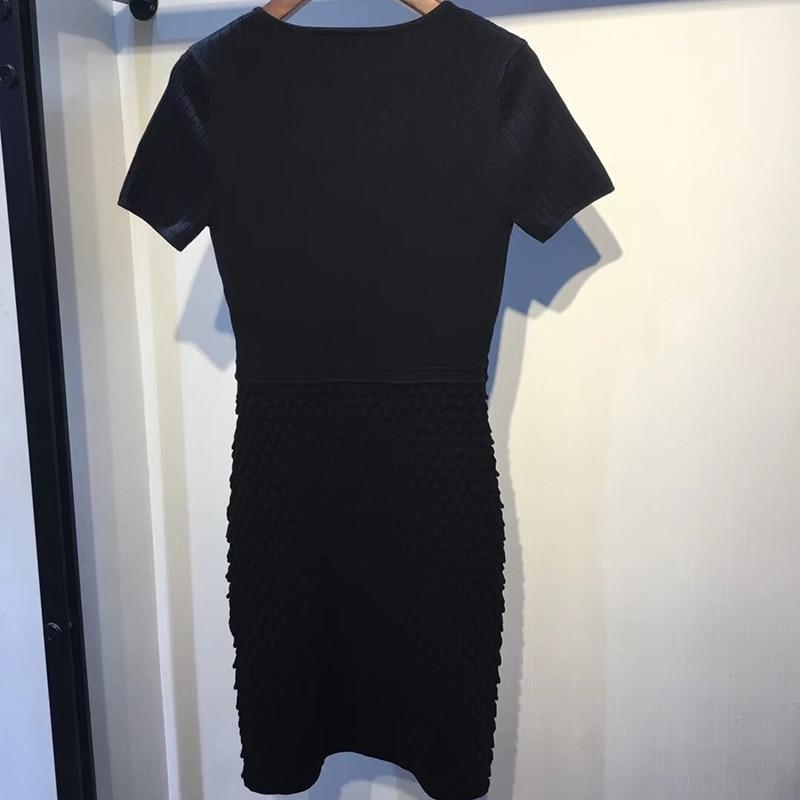 Tricot De Manches Élégant En Femmes Noir Moulante Printemps Sexy Cou Courtes Tenue Dames Robes 2019 V Fête Robe Pour awqw1R