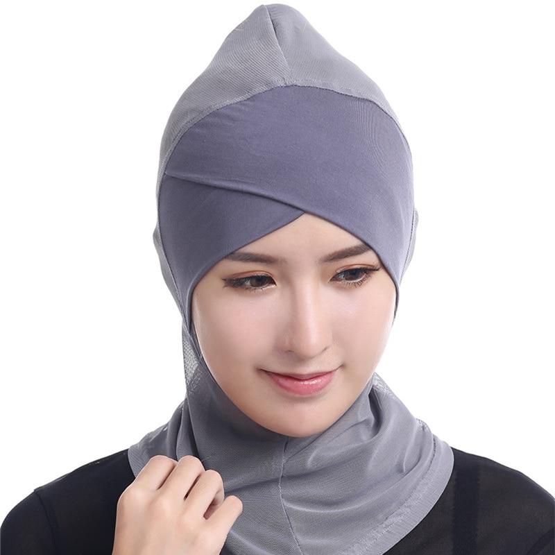 12 colors Lace Muslim Hijab Solid Stretch Net Cross Modal Trim Islamic Turban Head Cover Islam Wrap Hijab Caps