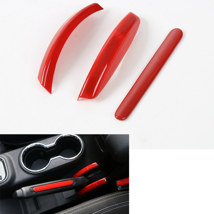 YAQUICKA 3Pcs/Set ABS Red Car Interior Hand Brake Cover Decoration Trim Sticker Fit For Jeep Wrangler 2011-2016