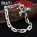 Beier 925 prata esterlina pulseira chain link polonês dobro do crânio do punk do vintage pulseira cadeia de mão homem sctyl0088