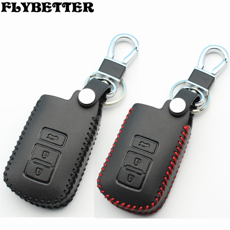 FLYBETTER Genuine Leather Remote Control Key Chain Cover Case For Toyota 12Camry 3Buttons Smart Key L2123 for toyota g and for toyota h chip vehicle obd remote control key programmer smart transponder key maker with power switch