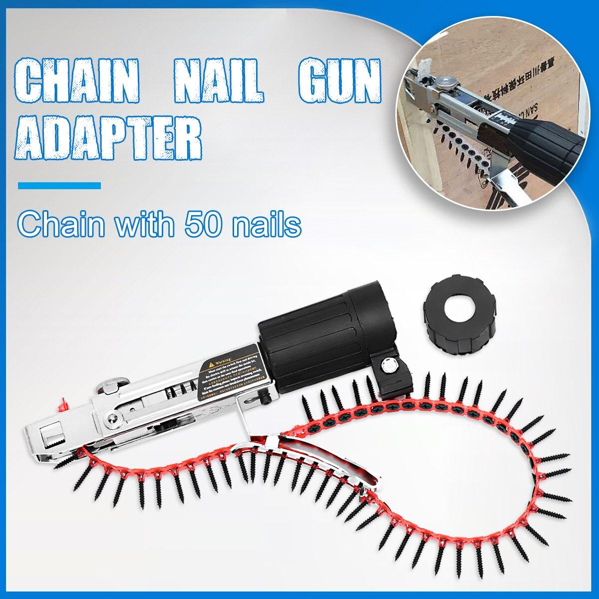 Drillpro Automatique Chaîne Nail Gun Adaptateur Vis Gun pour Perceuse Électrique Outil de Travail Du Bois Sans Fil Attachement Perceuse