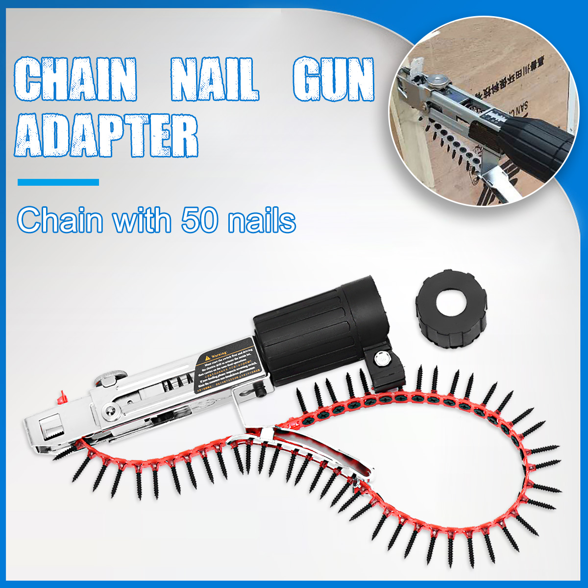 Drillpro cadena automático pistola adaptador tornillo pistola para taladro eléctrico carpintería herramienta eléctrica inalámbrica taladro adjunto