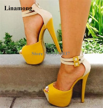 New Design Women Fashion Open Toe High Platform Pumps Yellow Suede Leather Super Ankle Straps Heels Dress Shoes