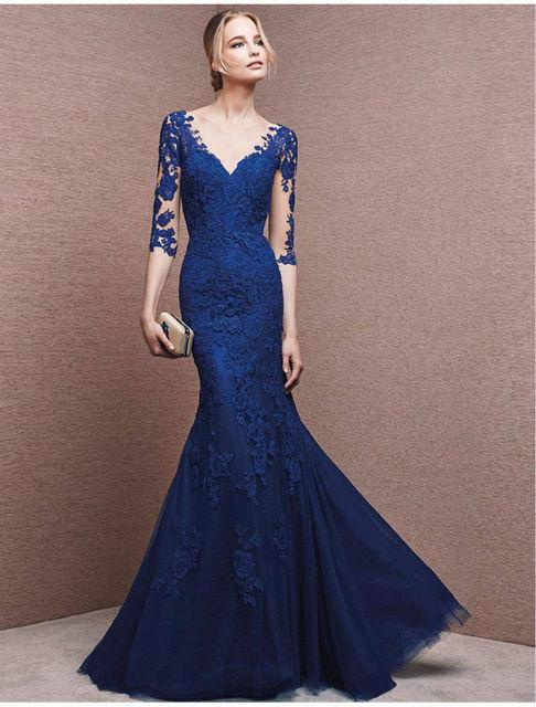 Online Shop Vestidos Blue Evening Dresses 2016 Long Sleeves Lace ...