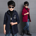 Foreign Trade 2017 Spring Fall Boys Casual Long Woollen Jacket Kids Leisure Hooded Tweed Coat Children's Clothing Outerwear A105