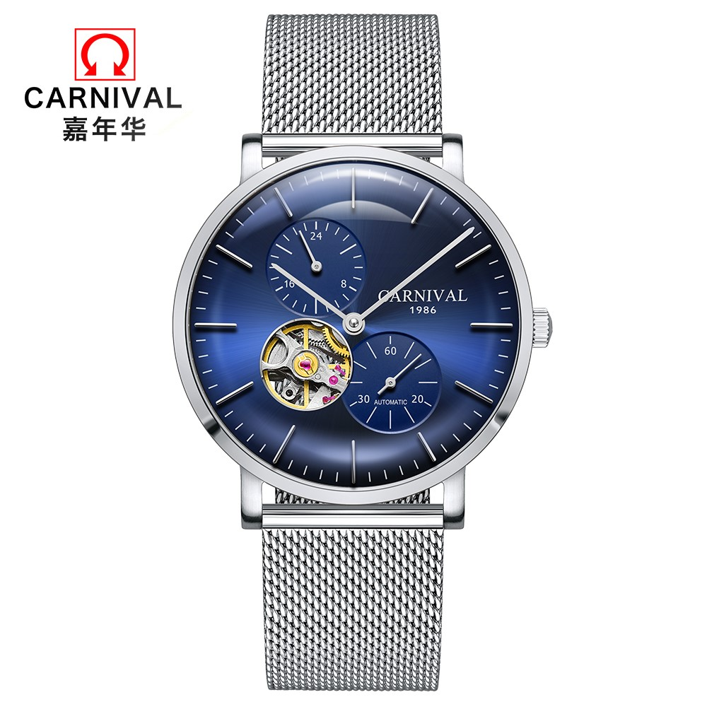 2018 Men's Business Mechanical Watches Top brand CARNIVAL Tourbillon Automatic Watch Men Small second dial 24hours display Clock цены онлайн