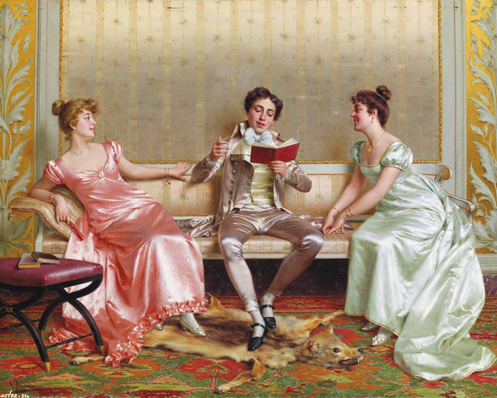 classical court figures reading the book oil painting canvas printings printed on canvas ...