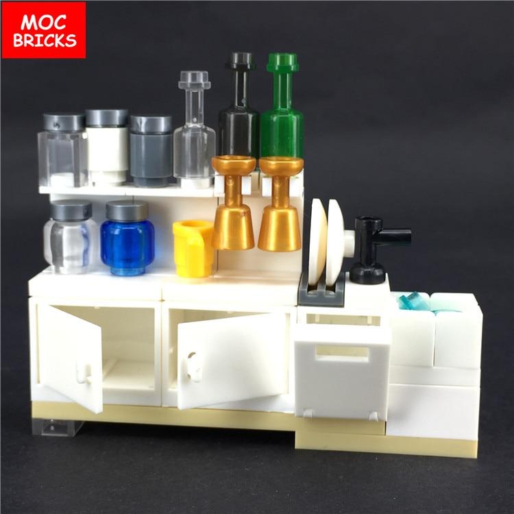 MOC Bricks Kitchen cabinets utensils DIY Model Action Figures Kids Educational Building Blocks Assembled Toys best children Gift