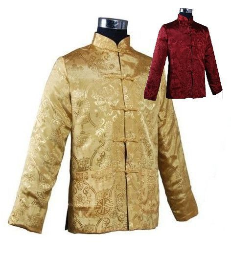 Novelty Burgundy Gold Chinese Mens Silk Satin Jacket Reversible Two-Face Coat hombres chaqueta abrigo Size M L XL XXL XXXL M1044
