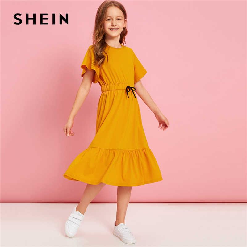 SHEIN Kiddie/красное однотонное расклешенное платье с оборками, трапециевидной формы, с поясом, летнее праздничное платье, рукав-волан, с пуговицами на спине, платья-миди для девочек