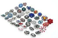 Hot Sale 100pcs Lot High Quality Mix Many Styles 18mm Metal Snap Button Charm Rhinestone Styles