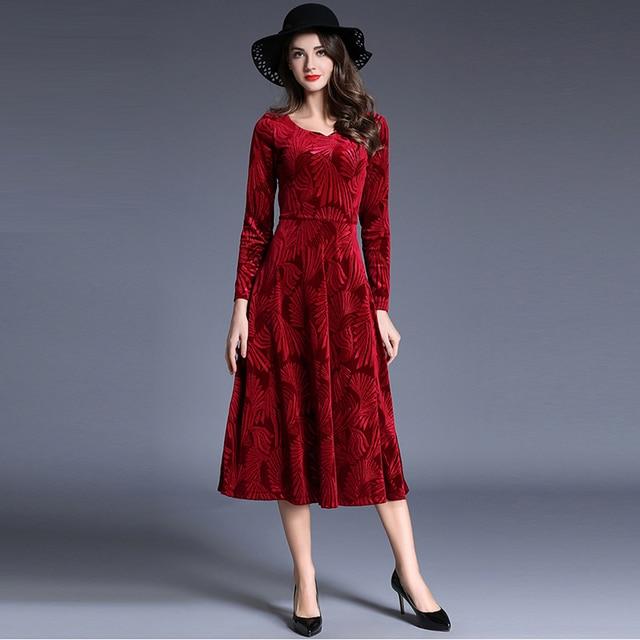 2017 Velvet Dress Autumn Winter Women Long Sleeve Red Dressed Female Y Slim