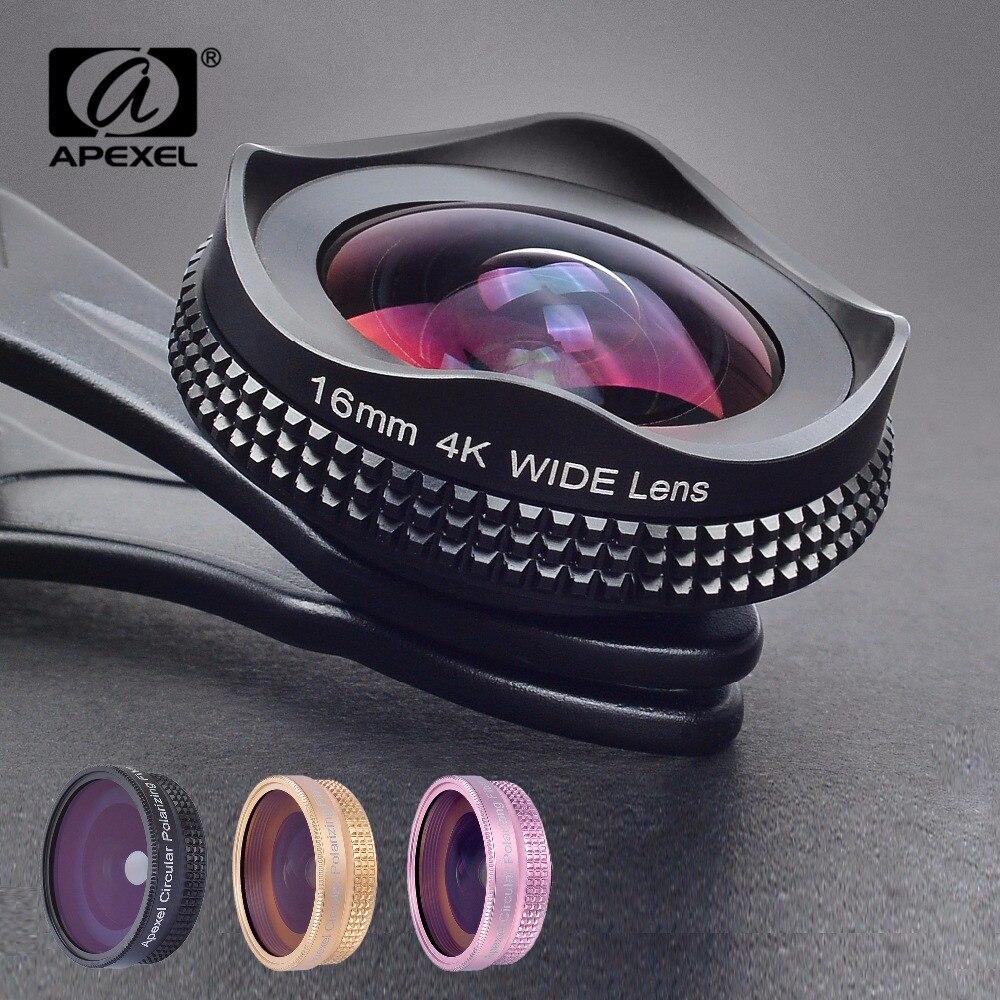 APEXEL Pro 16mm 4 k Super Wide angle Lens com Lente Filtro CPL 2 em 1 HD Câmera Clipe Universal kit de lente para o iphone Xiaomi Samsung Lente