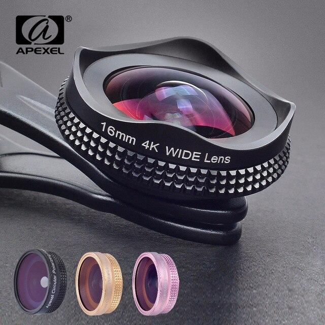 APEXEL プロ 16 ミリメートル 4 18k 超広角レンズ CPL フィルター 2 で 1 HD ユニバーサルクリップカメラ iphone Xiaomi サムスンレンズ