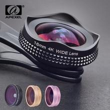 Apexel 프로 16mm 4 k 슈퍼 와이드 앵글 렌즈 cpl 필터 2 1 hd 유니버설 클립 카메라 렌즈 키트 아이폰 xiaomi 삼성 렌즈