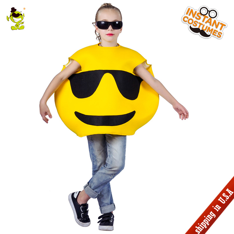 QLQ New Halloween Kids Sunglasses Emoji Costumes Performance Emoticon Jumpsuit Role Play Emoticon Emoji Dress for Parties