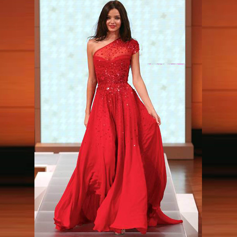 Sparkly Sequins Beaded One Shoulder Long Red Chiffon Evening Dress Floor Length Prom Gown For Wedding Party Custom Made