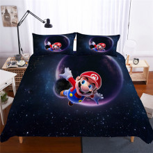 HELENGILI 3D Bedding Set Mario Print Duvet Cover Set Lifelike Bedclothes with Pillowcase Bed Set Home Textiles #MLA-04