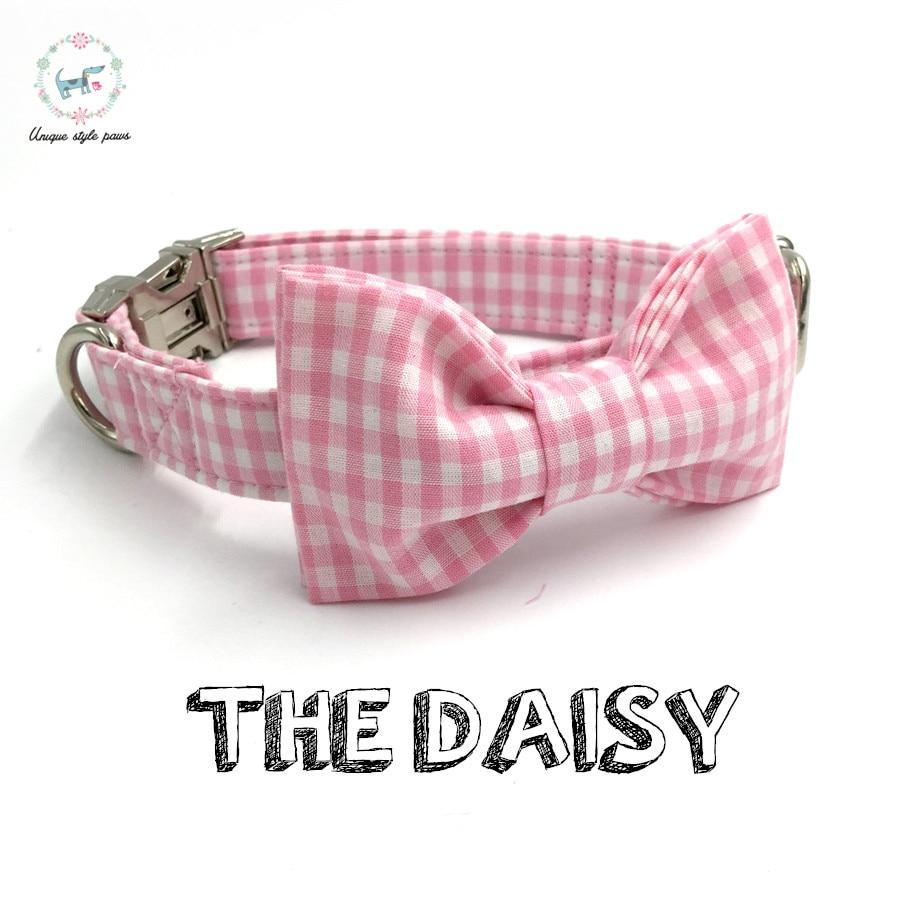ვარდისფერი ძაღლის საყელო მშვილდისფერი ჰალსტუხი პირადი საბითუმო ვაჭრობა დიზაინერის ხელნაკეთი წვრილმანი ძაღლი და კატა ყელსაბამი XS-XL