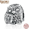BAMOER Vivid 100% 925 Sterling Silver Charming Owls Animal Screw Charms fit Bracelets Necklaces Beads & Jewelry Makings PSC036