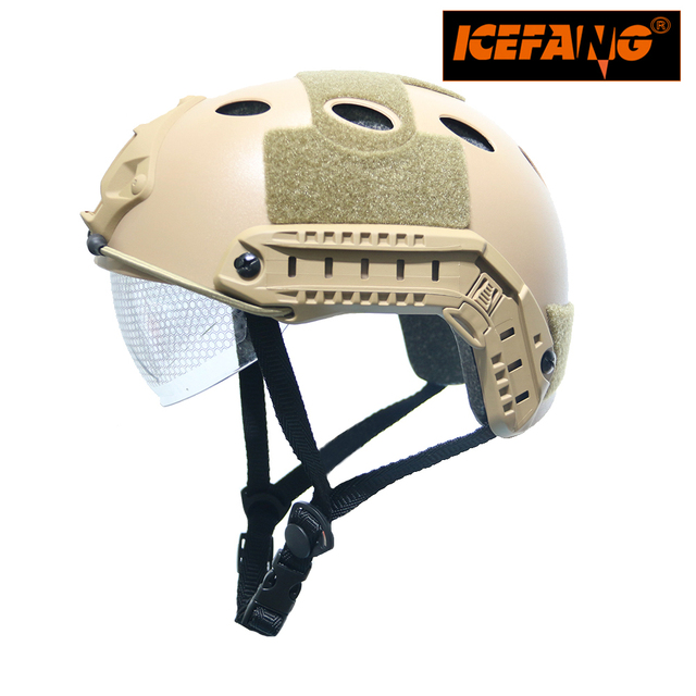 Tactical Airsoft Paintball Fast PJ Helmet with Goggles ARC Side Rails Vas Shroud  NVG Mount