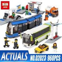 Lepin Blocks 02023 City Public Transport Station Set Compatible Legoings Toys 8404 Building Bricks Bus Train Car Christmas gifts
