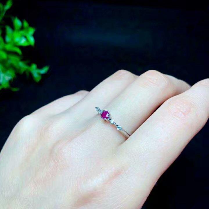 Shilovem 925 bague en argent sterling naturel rouge rubis bijoux fins femmes à la mode ethnique mariage ouvert 3*3mm qj030301agh - 6