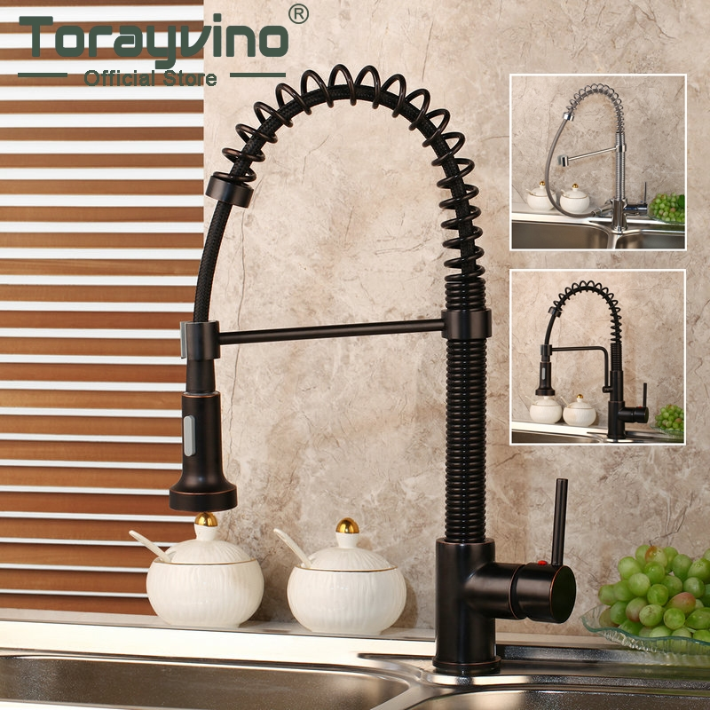 Kitchen Faucet Pull down Black Chrome Swivel Sink Faucet Basin Mixer Swivel Spring Stream Spray Deck Mount Kitchen Faucets