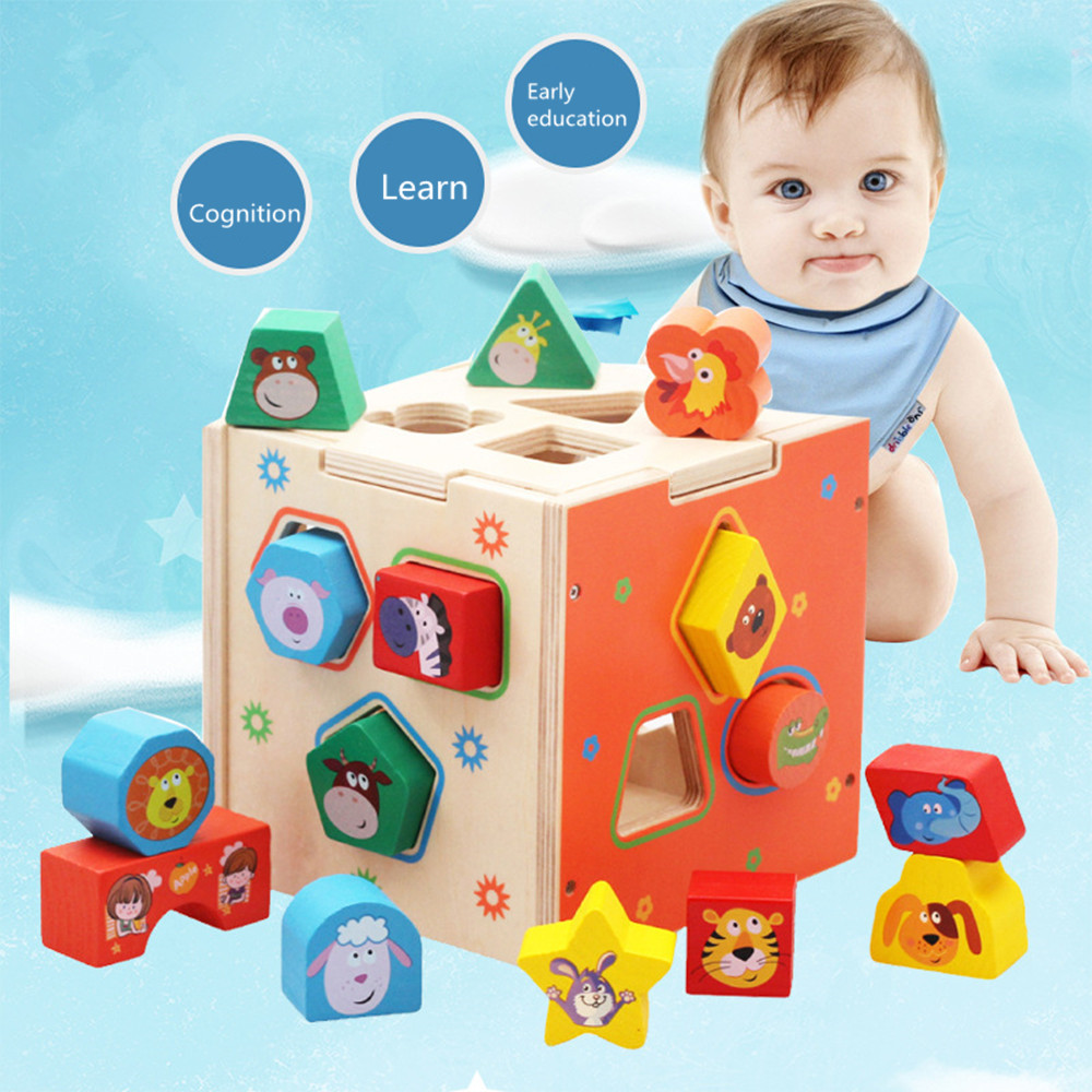 Children puzzle early learning cubes geometric shapes wooden paired  cartoon shape intelligence box brand moyu aofu cube 7x7x7 magic cubes 7 block puzzle speed cubes learning
