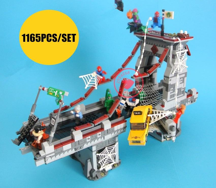 Nouveau super héros Spiderman Pont Bataille fit legoings avengers infinity guerre marvel figurines Building Block briques 76057 cadeau enfant