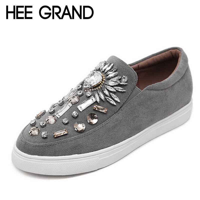 HEE GRAND Crystal Loafers Bling Platform Shoes Woman 2017 Rhinestone Creepers Slip On Flats Vintage Casual Women Shoes XWD4648 2017 summe breathable women shoes lace loafers summer wedges hide heel casual shoes creepers platform shoes woman slip on flats