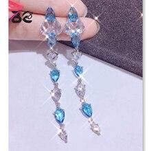 Be 8 2018 New Elegant Water Drop Crystal Long Statement Earrings, Long Dangle Earrings for Women Gift Pendientes Mujer Moda E669 чаша e669 23 5 см коричневая e669 b 06198 23 5cm roomers