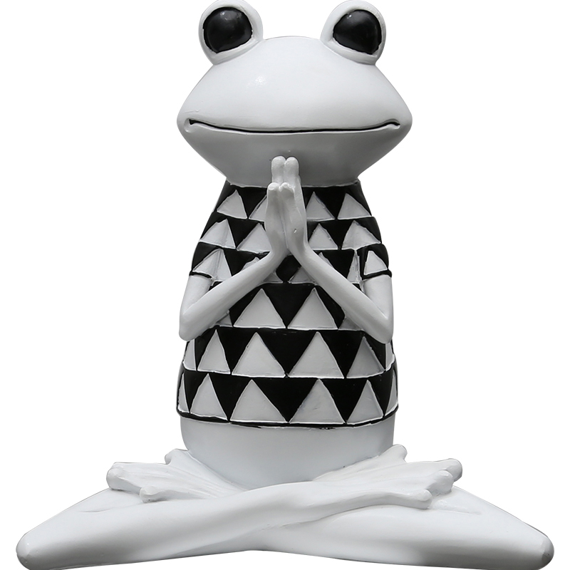 Europe résine Yoga grenouille table décoration de la maison artisanat animaux figurine spirituelle grenouille halloween cabochon décoration de la maison