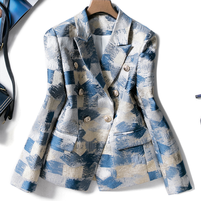 2019 New Designing Runway Suit Blazer Coat Office Women Notched Double Breasted Plaid Graffiti Jacquard Printing