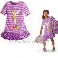 Púrpura Flor de Hadas de Dibujos Animados Ocasional del Algodón de Las Muchachas Vestidos de Niña Vestido de La Nueva Manera 2016 Verano Infantil Ropa Niño Ropa